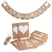 Yiwa Hanging Paper Bunting Garland with String Love Is Sweet Vintage Wedding Banner Party Decoration