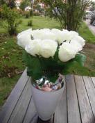 Etbotu Urparcel Single Fake Quality Faux Silk Rose Petals Champagne Roses Bride Holding Flowers White