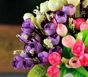 Etbotu Urparcel 1x 15 Heads Beautiful Silk Mini Rose Buds Flower Wedding Bouquet White
