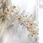Bride Crystal Hair Ornaments Retro Crown Jewellery Elegant Golden Beauty Cosmetics