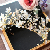 manual Weave crystal Gold bride Crown Headdress wedding accessories