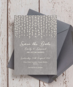 Personalised Dove Grey Fairy Lights Wedding Save the Date Cards