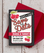 Personalised Retro Cherry Rockabilly Wedding Save the Date Cards