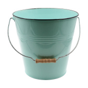 Green Pastel Coloured Decorative Buckets Wood Handle