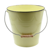 Yellow Pastel Coloured Decorative Buckets Wood Handle
