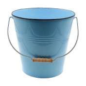 Blue Pastel Coloured Decorative Buckets Wood Handle