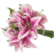 Omkuwl Wedding Bridal Holding Bouquet Home Garden Artificial Lily Flowers Bouquets Purple