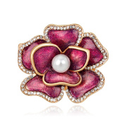 Yiwa Women Jewellery Refined Brooches Fashion Flower Modelling with Rhinestone & Pearl Trim Breastpin for Cocktail Wedding Party