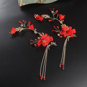 KHSKX-Korean Red Wedding Bride Headdress Hair Edge Clip Wedding Dress Wedding Jewellery Jewellery Accessories