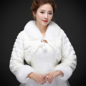 Woman'S Hair Shawl Cape Package Fur Collar Long Sleeves Coat Winter Keep Warm Cloak For The Bride