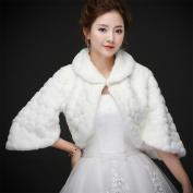 Woman'S Hair Shawl Cape Wraps Wedding Dress Cloak Winter Warm Jacket For The Bride White