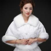 Woman'S Hair Shawl Cape Wraps Wedding Dress Cloak Coat White Big Collar Winter Warm For The Bride