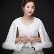 Woman'S Hair Shawl Cape Wraps Wedding Dress Cloak Coat Winter Warm Round Neck Elbow Shawl For The Bride