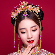 Costume Bride Headdress Retro Chinese style Coronet Tassels Xiu wo Clothing Accessories