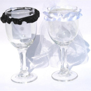 Lucky GIRL 2 Pcs Wedding Dress Bride Champagne Glass Wine Glass Cover Decoration