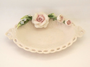 Saucer Oval Perforated with capodimonte- Decoration Tealight Holder – Ashtray – Party Favours Wedding Porcelain Capodimonte Visconti