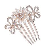 xinyiwei Lades' 5-pin Rhinestone Faux Pearl Hair Slide Hair Comb Clip Women Headdress
