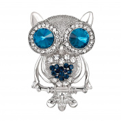 Yiwa Cute Cartoon Owl Crystal Rhinestone Brooch Pin Badge for Suit Jeans Bag Decoration