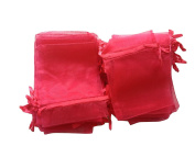andensoner 100 Pcs rganza Pouch Wedding Favour Gift Bags Red