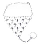 andensoner Elegant Crystal Belly Dancing Outfit Bracelet with Adjustable Ring