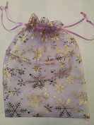 25 ORGANZA WEDDING PARTY favour BAGS CHRISTMAS SNOWFLAKES PATTERN 17 CM X 23 CM LAVENDER