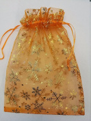 25 ORGANZA WEDDING PARTY favour BAGS CHRISTMAS SNOWFLAKES PATTERN 17 CM X 23 CM ORANGE