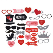 Say Hello 27 PCS Paper Card Glasses Just Married Photo Booth Props Photobooth Wedding Decoration