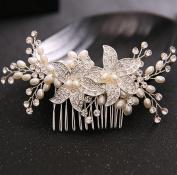 Bride headdress diamond pearl hair comb bridal jewellery accessories wedding dress