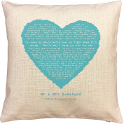 Kodaline, The One, song words/ lyrics CUSHION - ideal Cotton 2nd Anniversary Gift - with your own PERSONALISATION