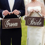 Yiwa Wedding Celebration Decoration Shoot props creative wooden sign vintage Groom and Bride Wedding Chair Banner Set Chair