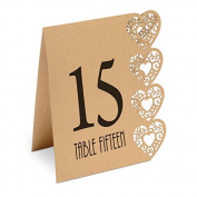 Heart Design Table Numbers 115 Kraft Brown
