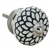 Cream Etched Flower Round Ceramic Door Knob Vintage Shabby Chic Cupboard Drawer Pull Handle