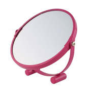 sourcingmap® Magenta Metal Frame 360 Degree Rotation Normal and Magnifying Stand Makeup Mirror for Ladies
