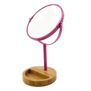 sourcingmap® Magenta Metal Frame Wooden Holder Double Sided Normal and Magnifying Stand Cosmetic Mirror