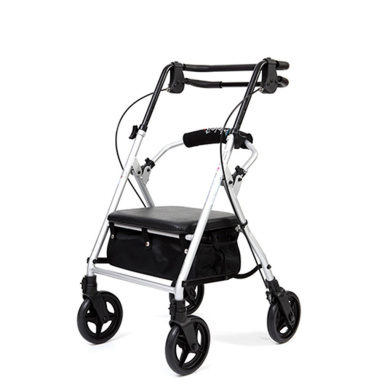 HJHY® walking aids, Senior trolley Four rounds of travel Walker Belt wheel With seat Aluminium alloy Light folding Grocery shopping