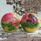 Chinese Traditional Handmade Painted Peony Decompression Health Care Massage Ball 50mm 280g