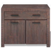 Festnight Solid Acacia Wood 2 Doors Sideboard with 1 Drawer for Living Room Smoke Look 90 x 40 x 77 cm