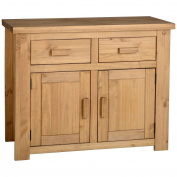 Functional Rustic Style 2 Doors 2 Drawers Sideboard - Suits Well With Variety Of Settings - Beautiful Waxed Pine Finish
