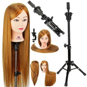 Neverland Beauty 80cm 100% Synthetic Fibre Hair Training Head Hairdressing Hairdresser Practise Mannequin Manikin Doll with Clamp + Mannequin Tripod Stand