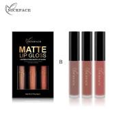 Wanshop Beauty Sexy 3PCS/ Non-stick Cup Waterproof Lipgloss Matte Liquid Lipstick Long Lasting Lip Gloss Matte Lipstick Style