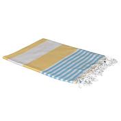 Birchwood Turkish Beach Towel, Yellow/Blue, 100cm x 180cm