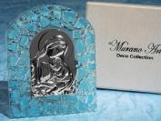 Blue Murano Art Deco Collection Arch Madonna Religious Glass Icon