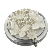 Sophia Silver Plated Compact Mirror Butterflies And Flowers