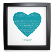 Jason Mraz, I Won't Give Up, HEART SHAPED ROMANTIC PERSONALISED PRINT Framed in a 23 x 23 cm Boxed Frame