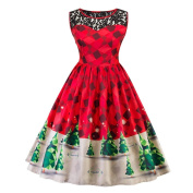 Gaddrt Women Christmas Tree Print Costume Fancy Chequered Dress Christmas Party Costume