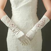 ZLYAYA gloves,Bridal gloves wedding gloves long Korean wedding dress show beige high-grade satin hollow fancy