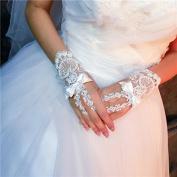 ZLYAYA gloves, Bridal gloves wedding dress accessories gloves short section white lace summer
