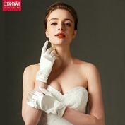 ZLYAYA gloves, Bow lace short silk satin wedding gloves wedding gloves accessories