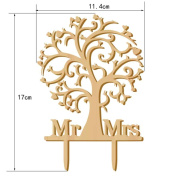 Omkuwl Wooden Wedding Cake Topper Mr & Mrs Tree Cake Toppers For Wedding Party Cake Decor