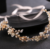 Bride headdress imitation pearl crystal hair belt wedding dress accessories headdress